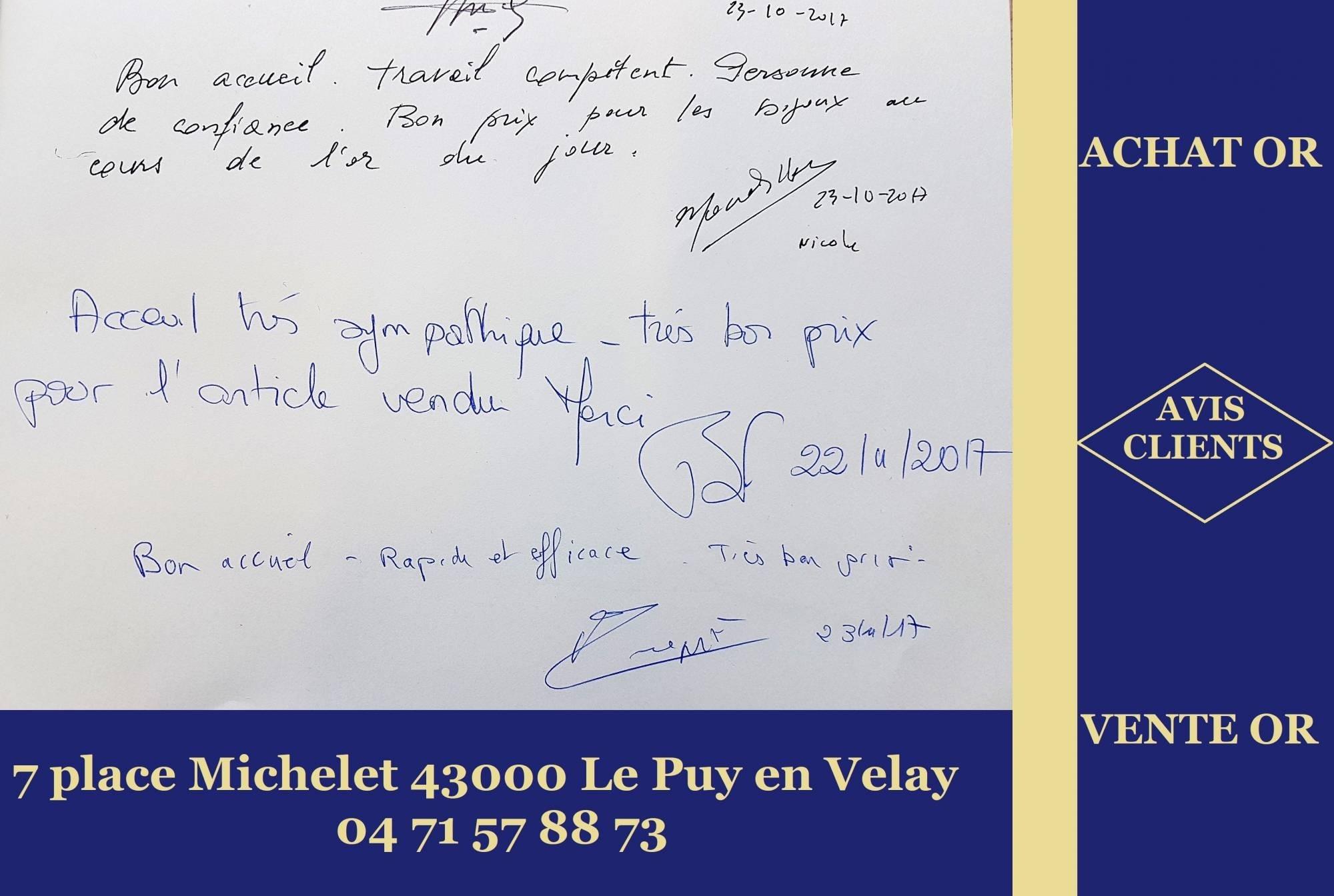 Avis Clients du comptoir d'achat or Le Puy