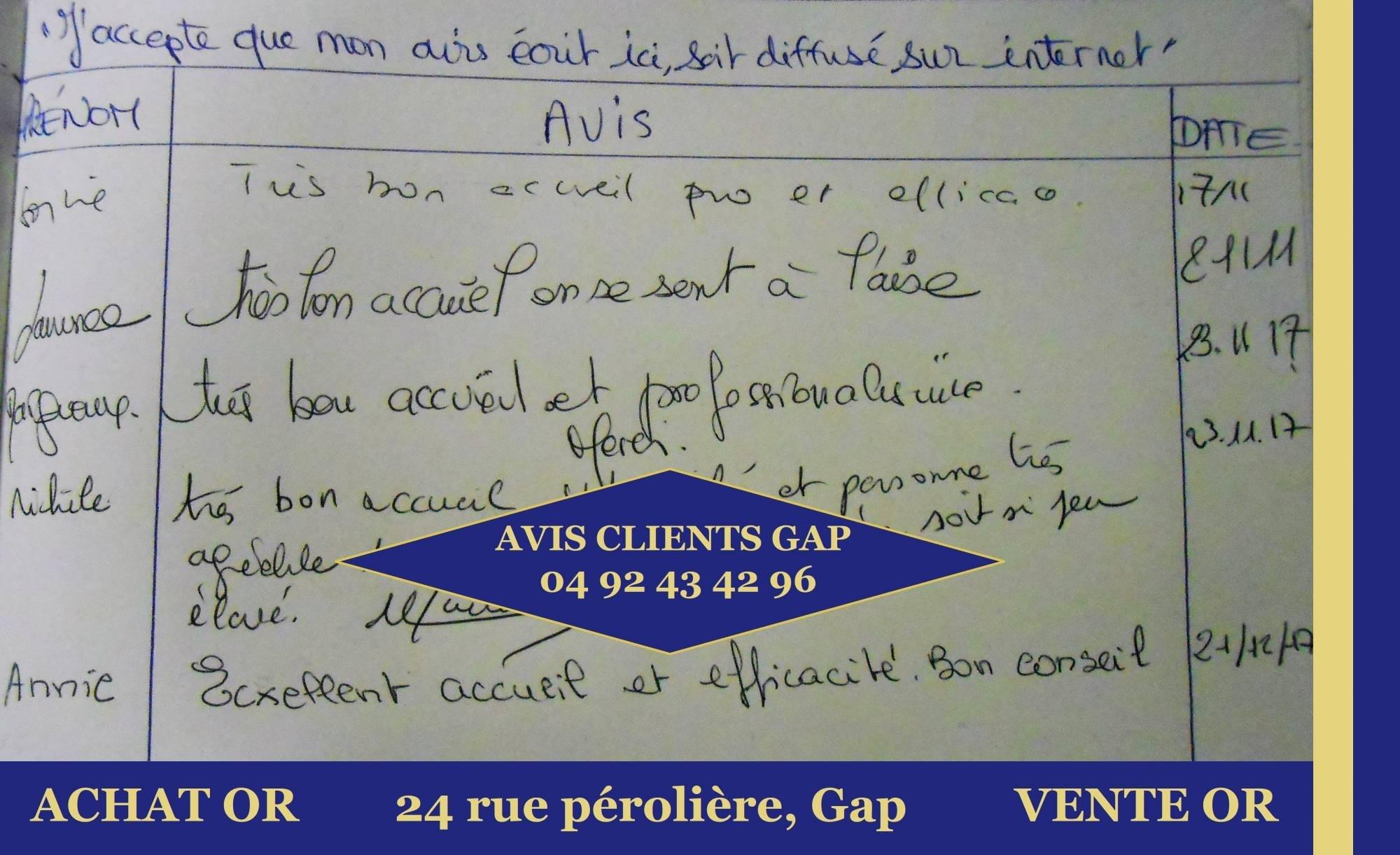 avis client rachat d or gap 2017
