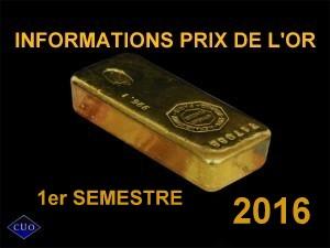 prix de l'or 2016