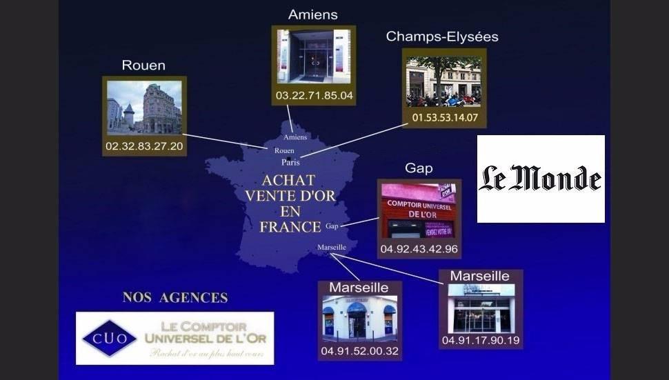 Nos agences de rachat et vente d'or et d'argent Rouen Amiens