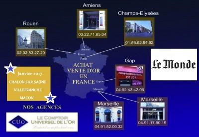 ouvertures achat et vente d'or Mâcon Chalon et Villefranche sur Saône