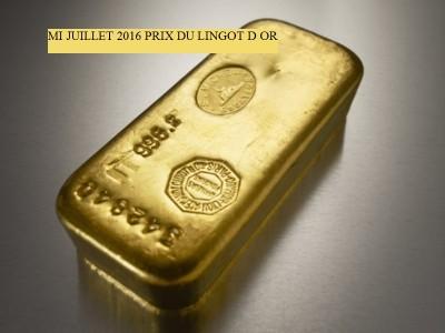 Prix du lingot d'or en juillet 2016